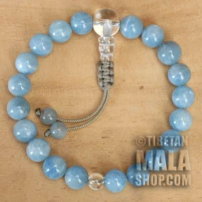 aquamarine wrist mala beads
