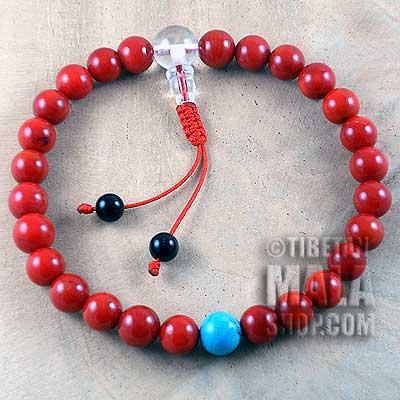 coral wrist mala beads