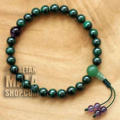 malachite wrist mala beads