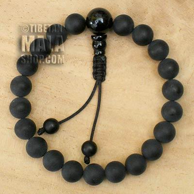 matte onyx wrist mala beads