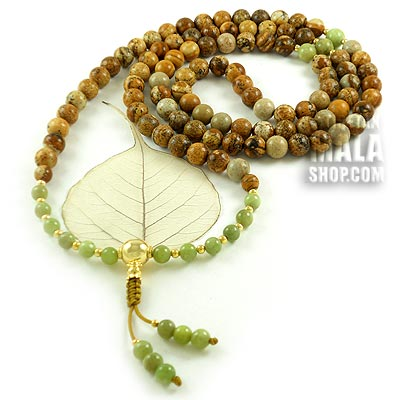 picture jasper mala with gold