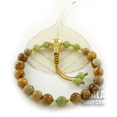 picture jasper wrist mala with gold