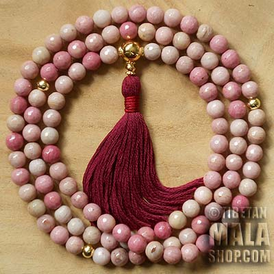 rhodonite buddhist mala beads