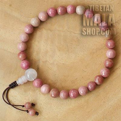 rhodonite wrist mala beads