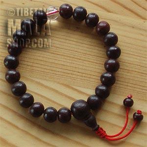 rosewood wrist mala beads
