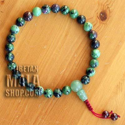 ruby zoisite wrist mala beads