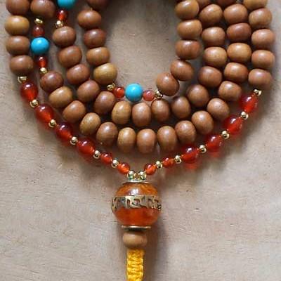sandalwood mala with om guru bead