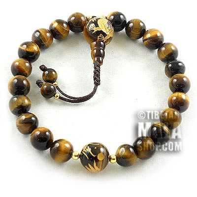 tigers eye with dragon wrist mala