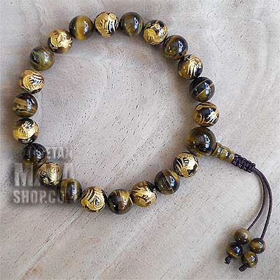 tigers eye gold dragon wrist mala