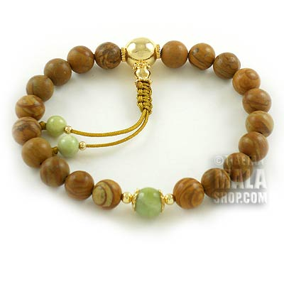 tigerskin jasper wrist mala with gold