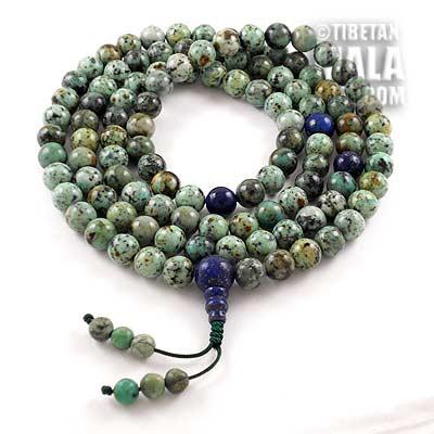 african turquoise buddhist mala beads