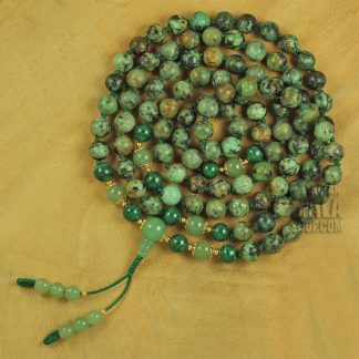 african turquoise hand knotted mala