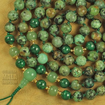 african turquoise knotted mala
