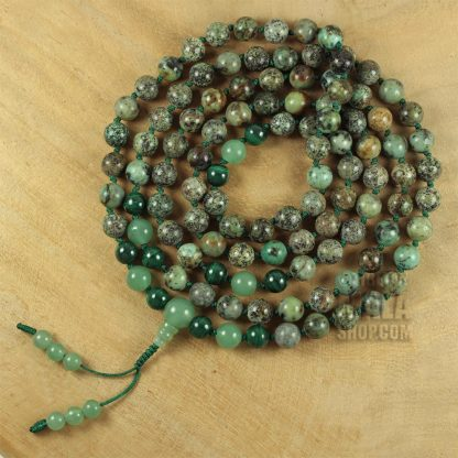 african turquoise knotted mala beads