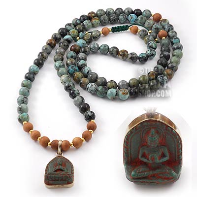 african turquoise yoga beads