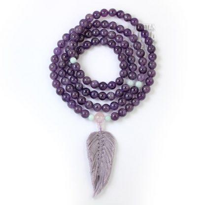amethyst feather mala
