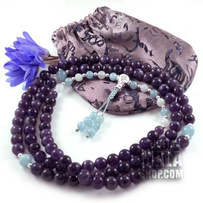amethyst mala beads with aquamarine