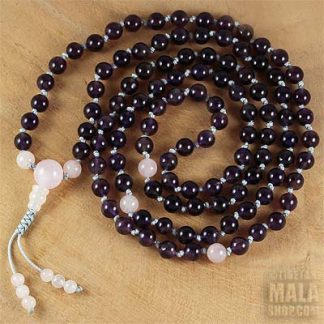 amethyst mala necklace