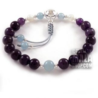 amethyst wrist mala with aquamarine