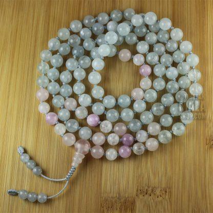 aquamarine knotted mala