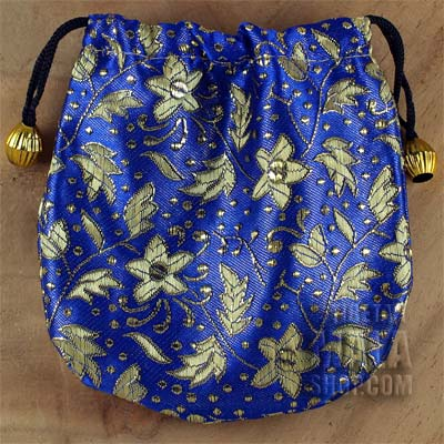 blue brocade small flowers gift bag