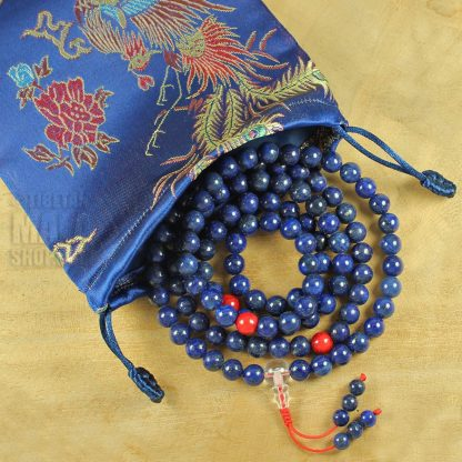 blue dragon mala beads bag