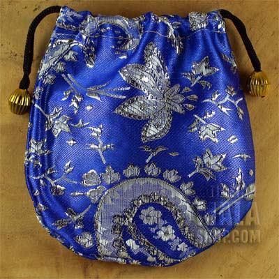 blue silver brocade gift bag