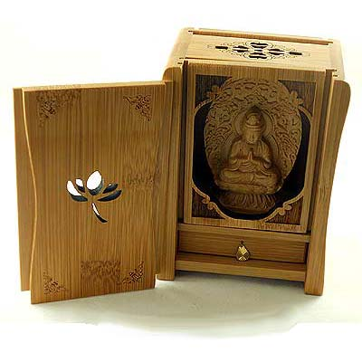 wooden buddha shrine