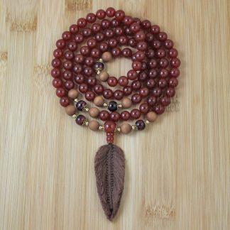 carnelian feather mala