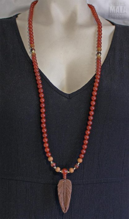 carnelian feather mala necklace
