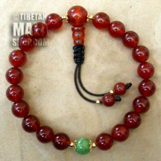 carnelian wrist mala beads with gold