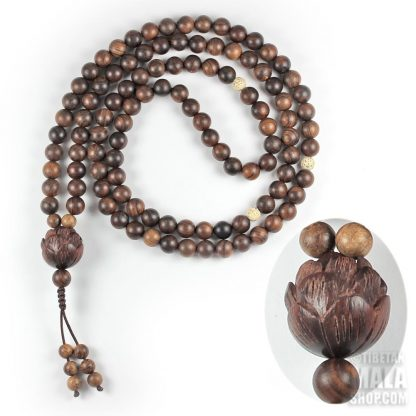 carved lotus mala