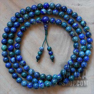 chrysocolla mala beads