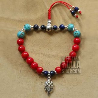 coral wrist yoga beads