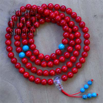 coral mala beads