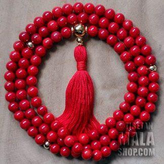coral buddhist mala beads