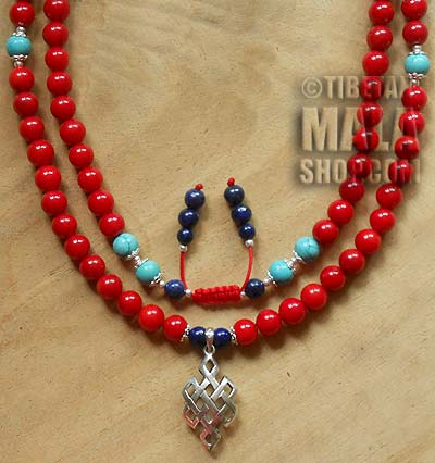 coral yoga beads with endless knot