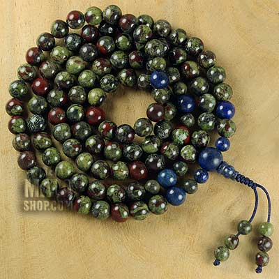 dragon blood jasper mala with lapis