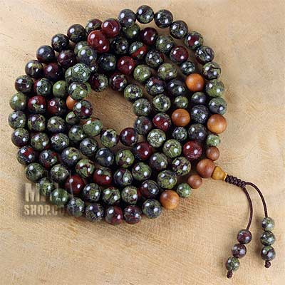 dragon blood jasper mala with sandalwood