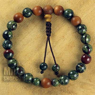 dragon blood jasper wrist mala with sandalwood