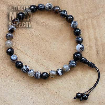 dzi wrist mala beads