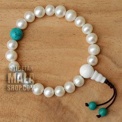 pearl wrist mala beads