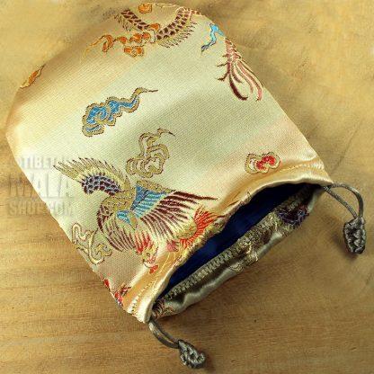 gold phoenix mala beads bag