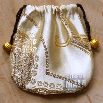 golden paisley mala beads bag