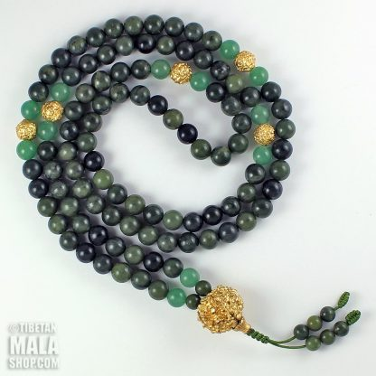 green and gold mala
