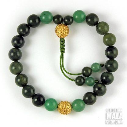 green gold mala bracelet