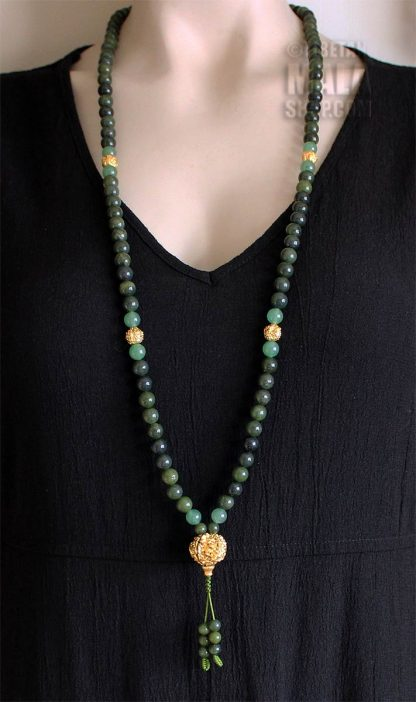green gold mala necklace