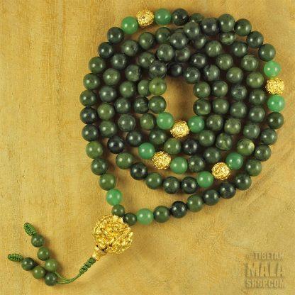 green gold mala beads