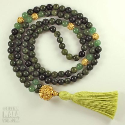 green gold tassel mala