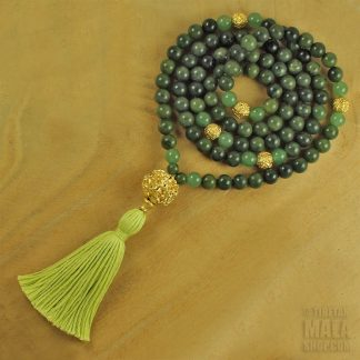 green gold tassel mala beads